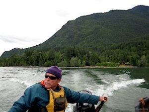 Camp Director Don Vaillancourt takes the boat across Kootenay Lake, 20132.