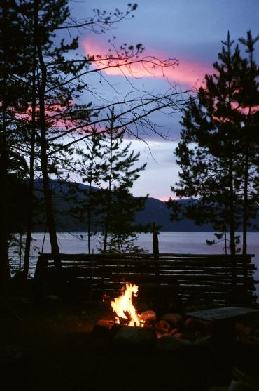 Sunset at Northwest Wilderness Society Camp on Kootenay Lake